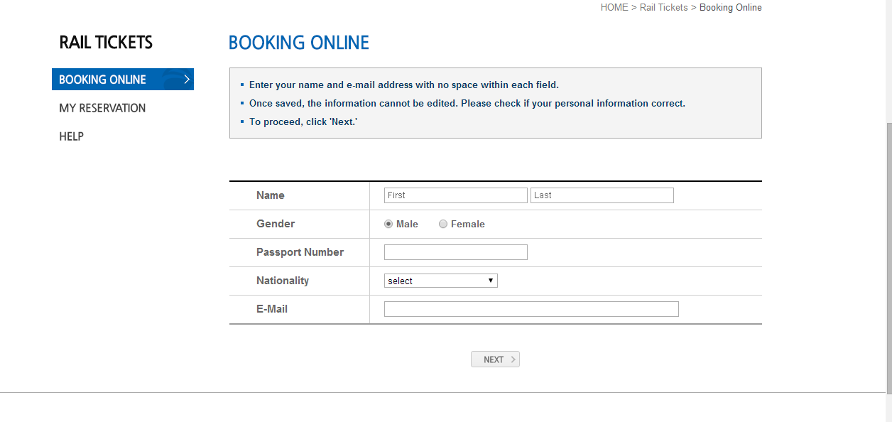 Booking online for KTX ticket