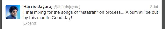 Maatraan harris Jayaraj Tweet