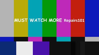 "NTSC test screen color bar pattern with caption ""Must watch more Repairs101"""