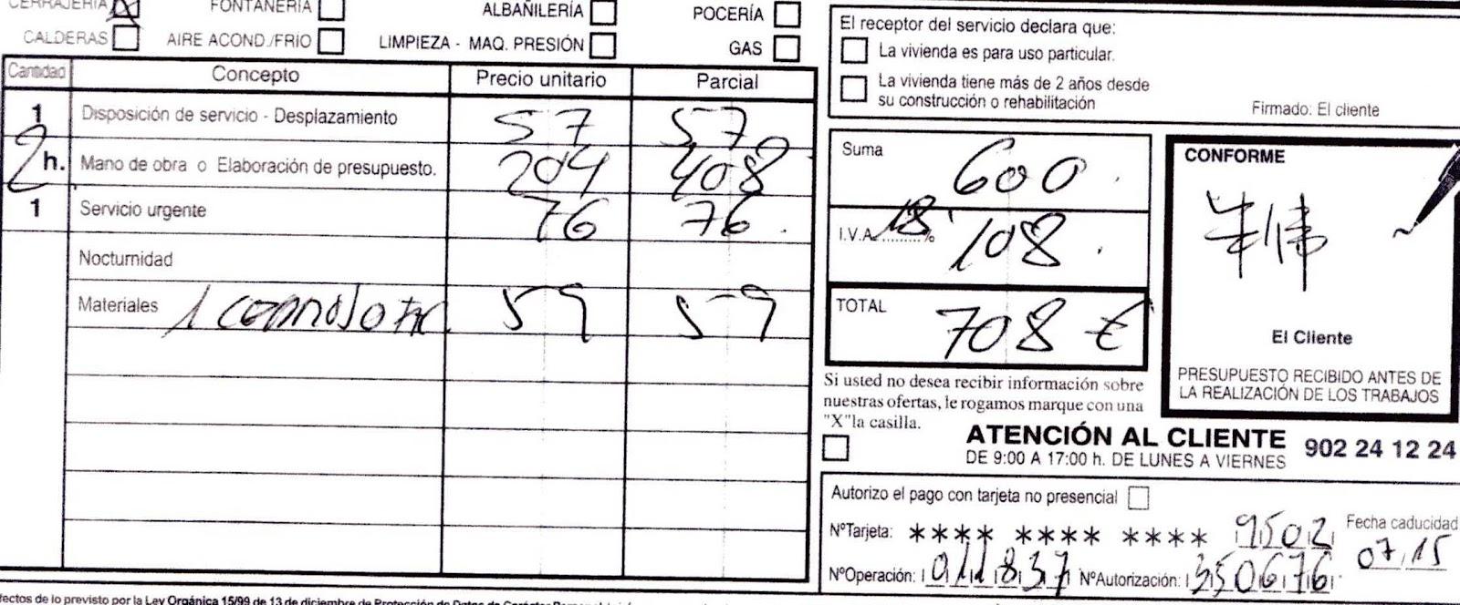 La factura del cerrajero de urgencia caminando por madrid for Cerrajeros de urgencias madrid
