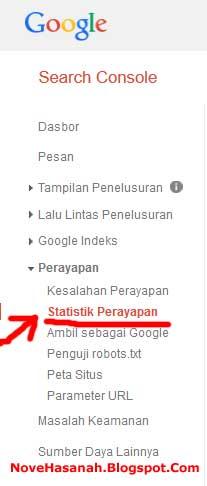 menu statistik perayapan di google webmaster