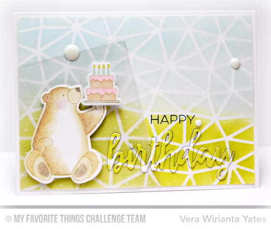 Pastel Birthday Bear Card by Vera Wirianta Yates featuring the Birdie Brown Birthday Bears stamp set and Die-namics, Brushstroke Birthday Greetings Die-namics, and Abstract Stencil #mftstamps
