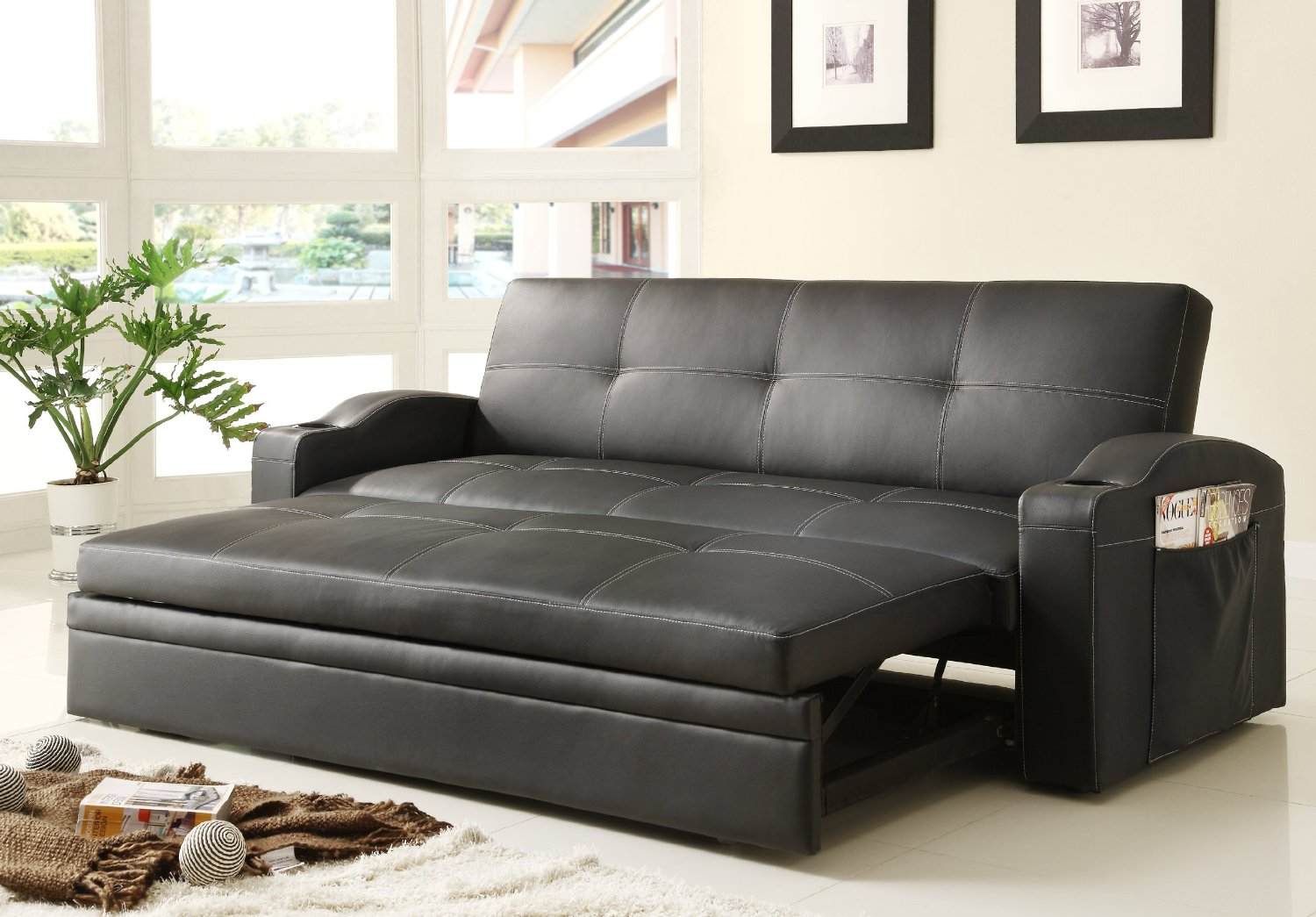 Synthetic Black Leather Adjule Couch With Pull Out Extra Bed