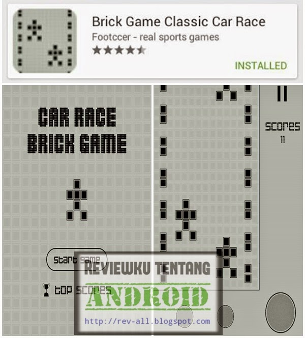 Ikon dan tampilan game jadul di android Brick game classic car race (rev-all.blogspot.com)