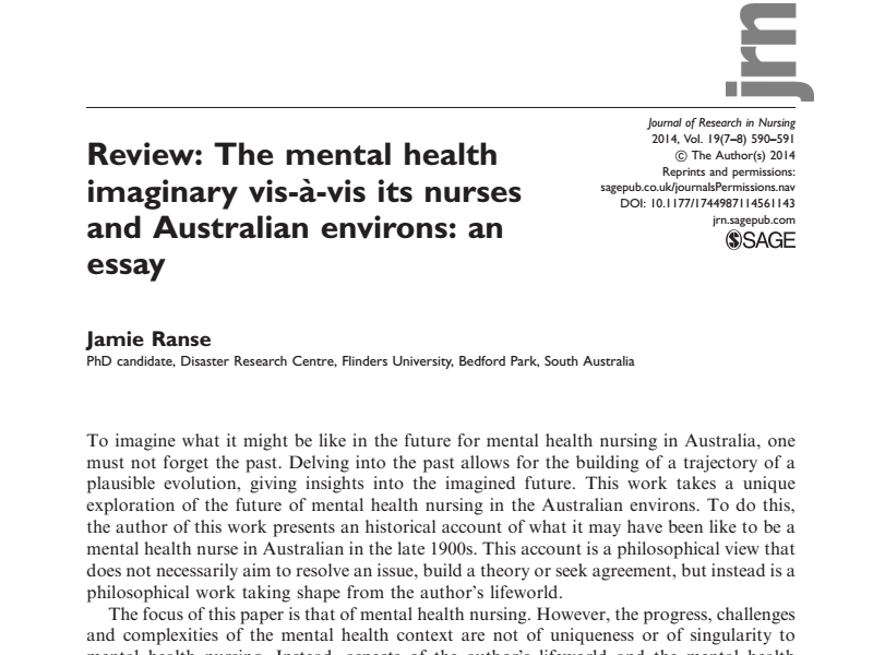 Review: The Mental Health Imaginary Vis A` Vis Its Nurses And Australian  Environs: An Essay