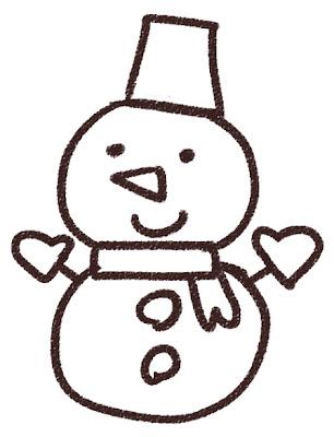 雪だるまのイラスト(クリスマス) 白黒線画