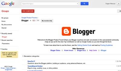 Blogger Product Forum