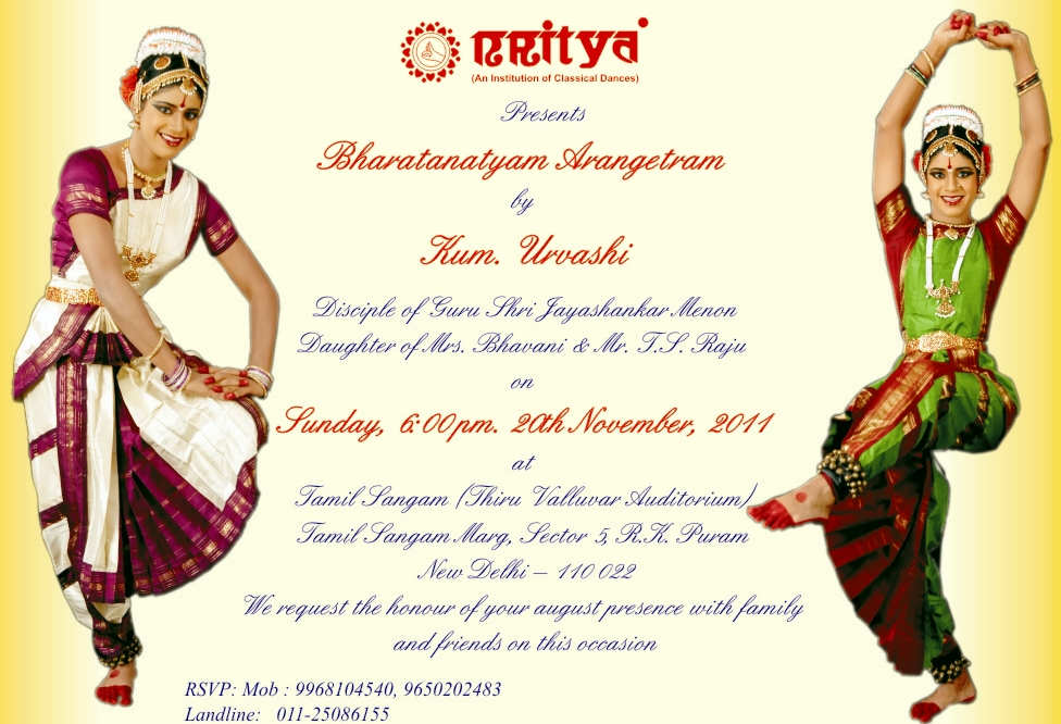Bharatanatyam Arangetram Invitation Best Printable Invitation