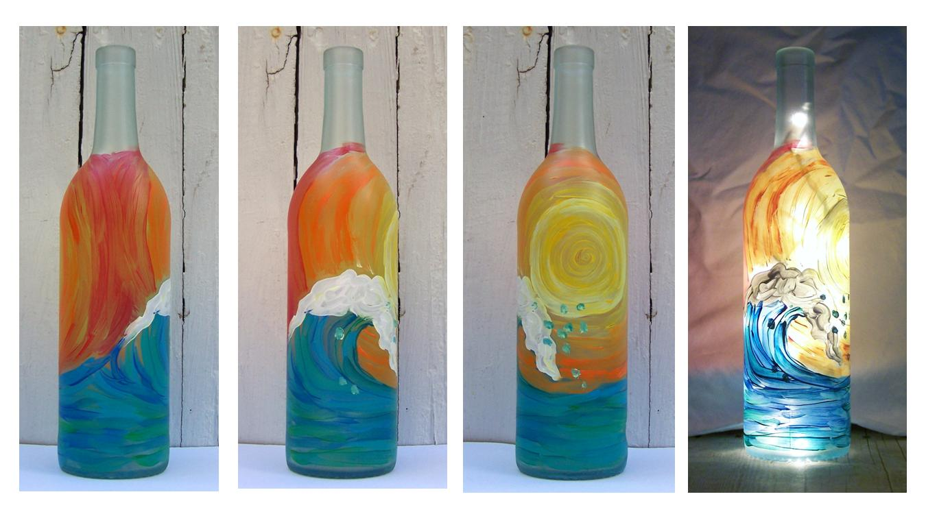 Front porch studio hand painted wine bottle lights for Painted wine bottles