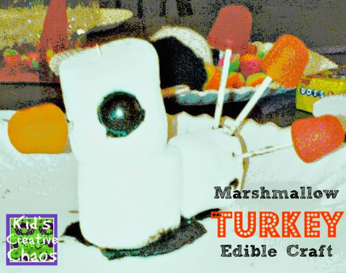 Marshmallow Turkey: Edible Craft for Thanksgiving.