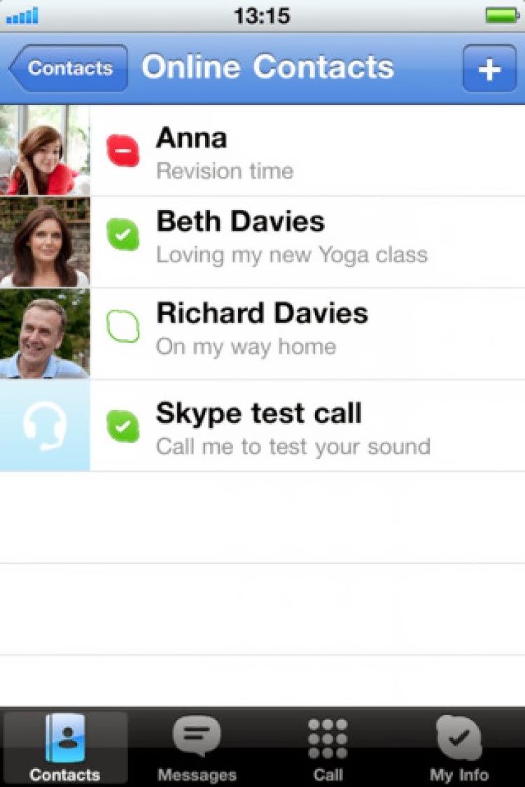 صورة من داخل تطبيق سكايب skype