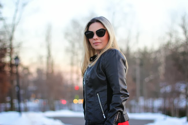 Black Leather Jacket and Miu Miu Catwalk Sunglasses