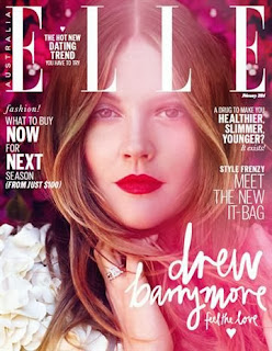 Magazine Cover : Drew Barrymor Magazine Photoshoot Pics on Elle Magazine Australia February 2014 Issue