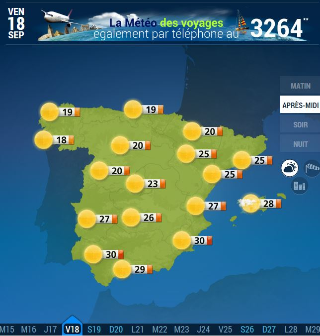 carte espagne temperature