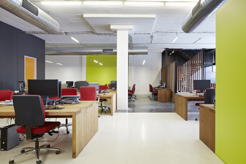 Natural light and ventilation literally doubles up the 'Reactive Media' office
