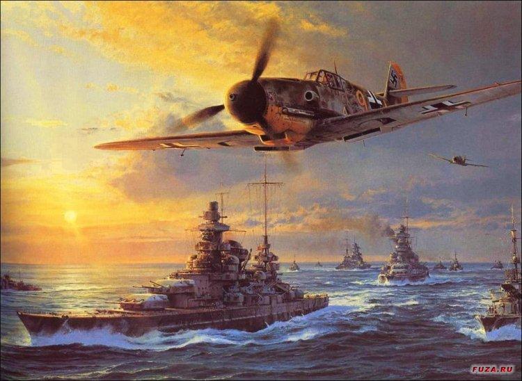 Lukisan gambar pesawat pejuang tentera udara era perang dunia kedua