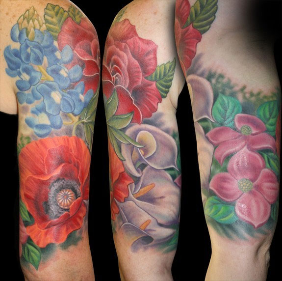 Half Sleeve Tattoos For Women Colorful Floral Half Sleeve Tattoos