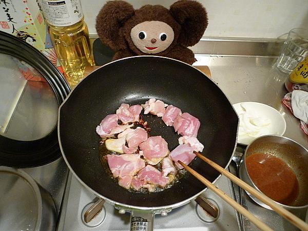 鶏肉とナス、万願寺、麸のみそ炒めの作り方(4)