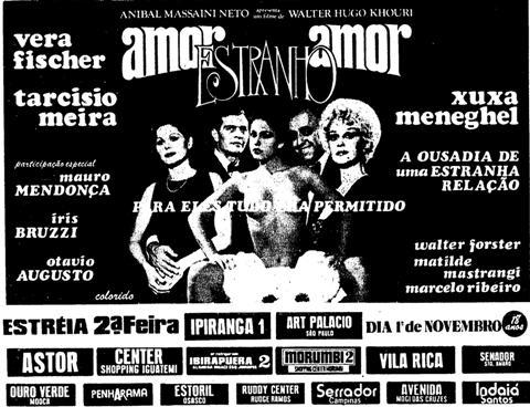 Cartaz do filme 'Amor Estranho Amor' com Xuxa, Tarcísio Meira e Vera Fischer.