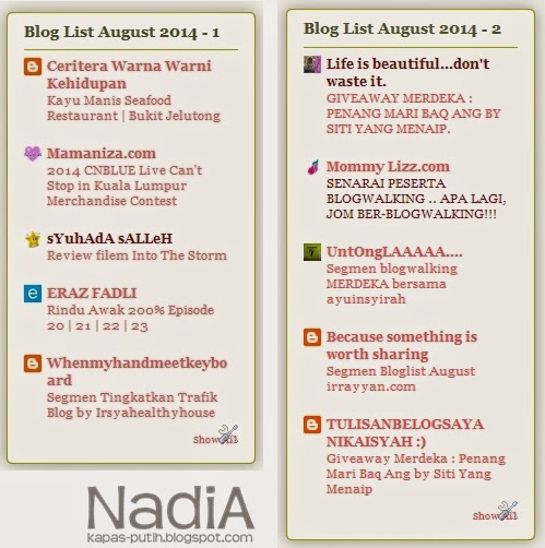 Bye July Bloglist and Hai August Bloglist