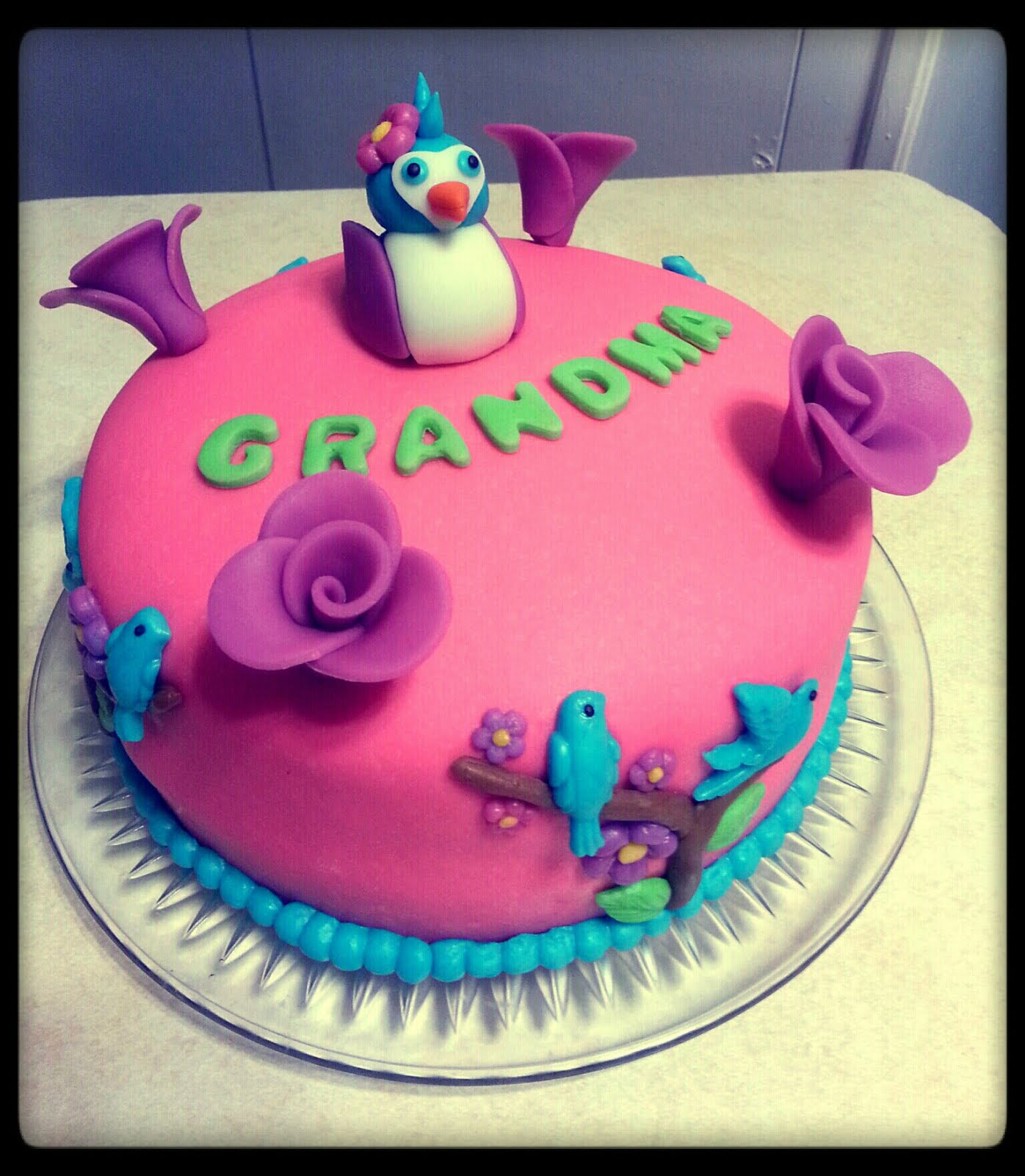 Birds And Flowers Birthday Cake For Grandma Bakery Creations By