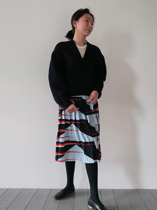 Mixed Pattern Pleated Skirt