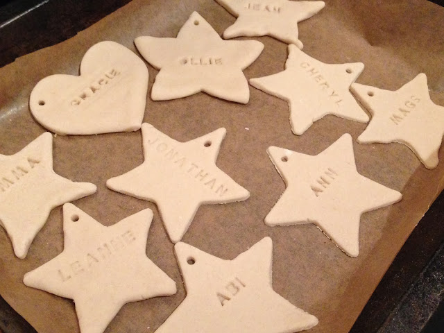 salt dough personalised christmas tags