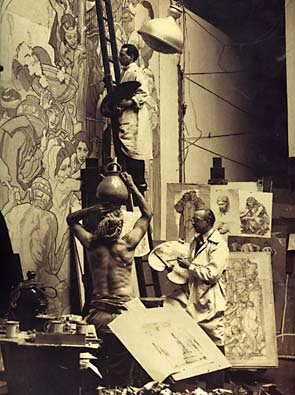 Dean Cornwell at Work Painting from Reference (a Model)