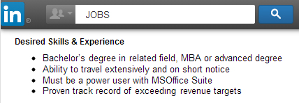 Screen-shot photo image of portion of LinkedIn.com job ad asking for Bachelor's and MBA degrees