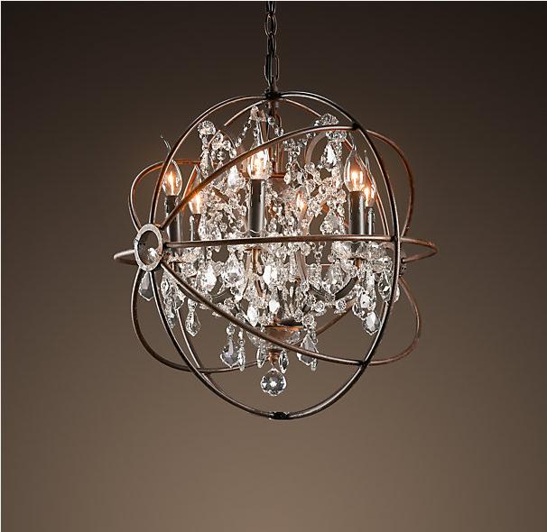 restoration hardware foucault s orb crystal chandelier