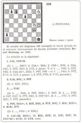 Estudio de ajedrez de Lorenzo Ponce Sala, tercer premio, Daniel Deletang, 1960