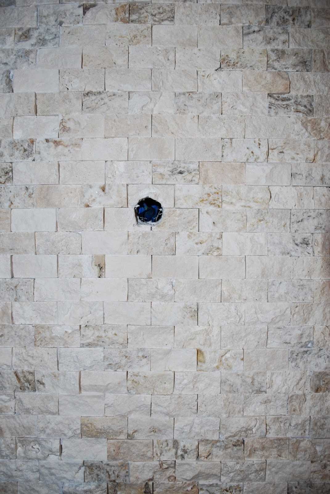 how to cut stacked stone tile for pipes in bathroom