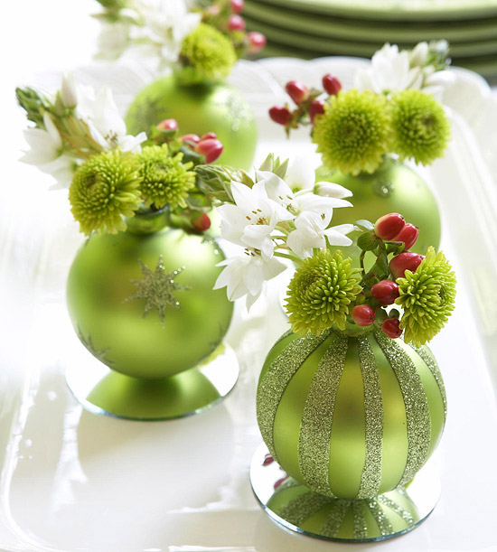 party you can create this really cute Christmas Ornament Centerpieces