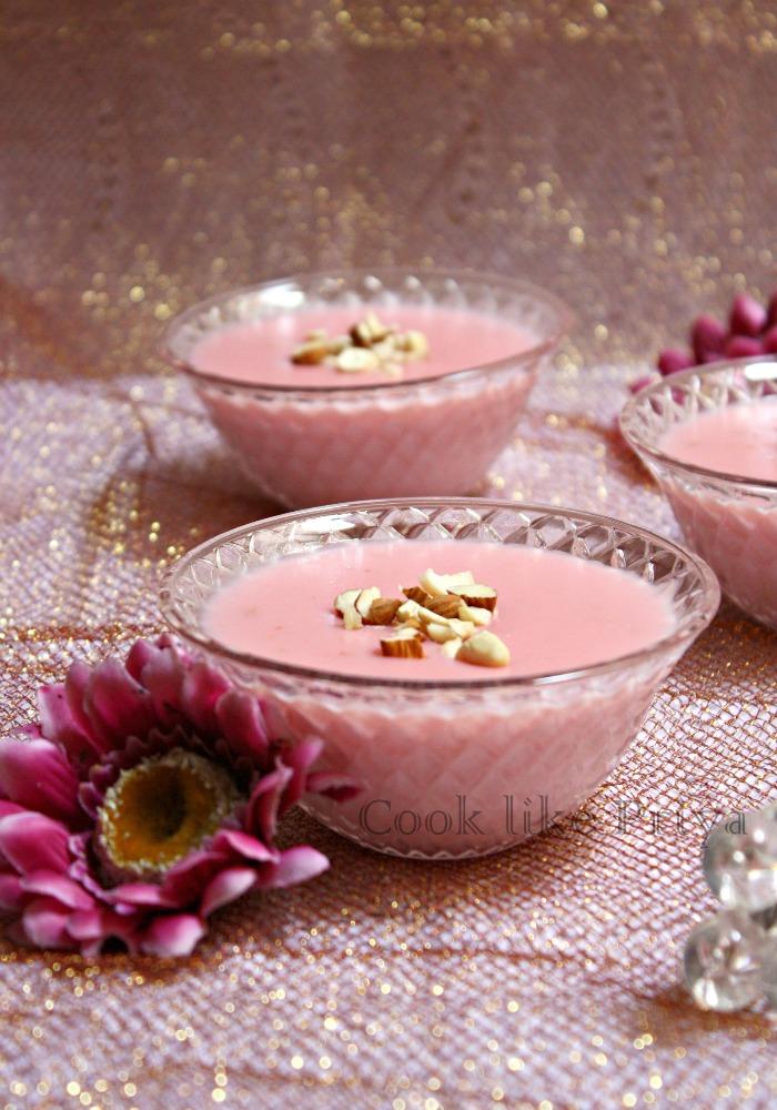 ... : Gulkand Phirni | Rose flavored Phirni | Rose petals Rice Pudding
