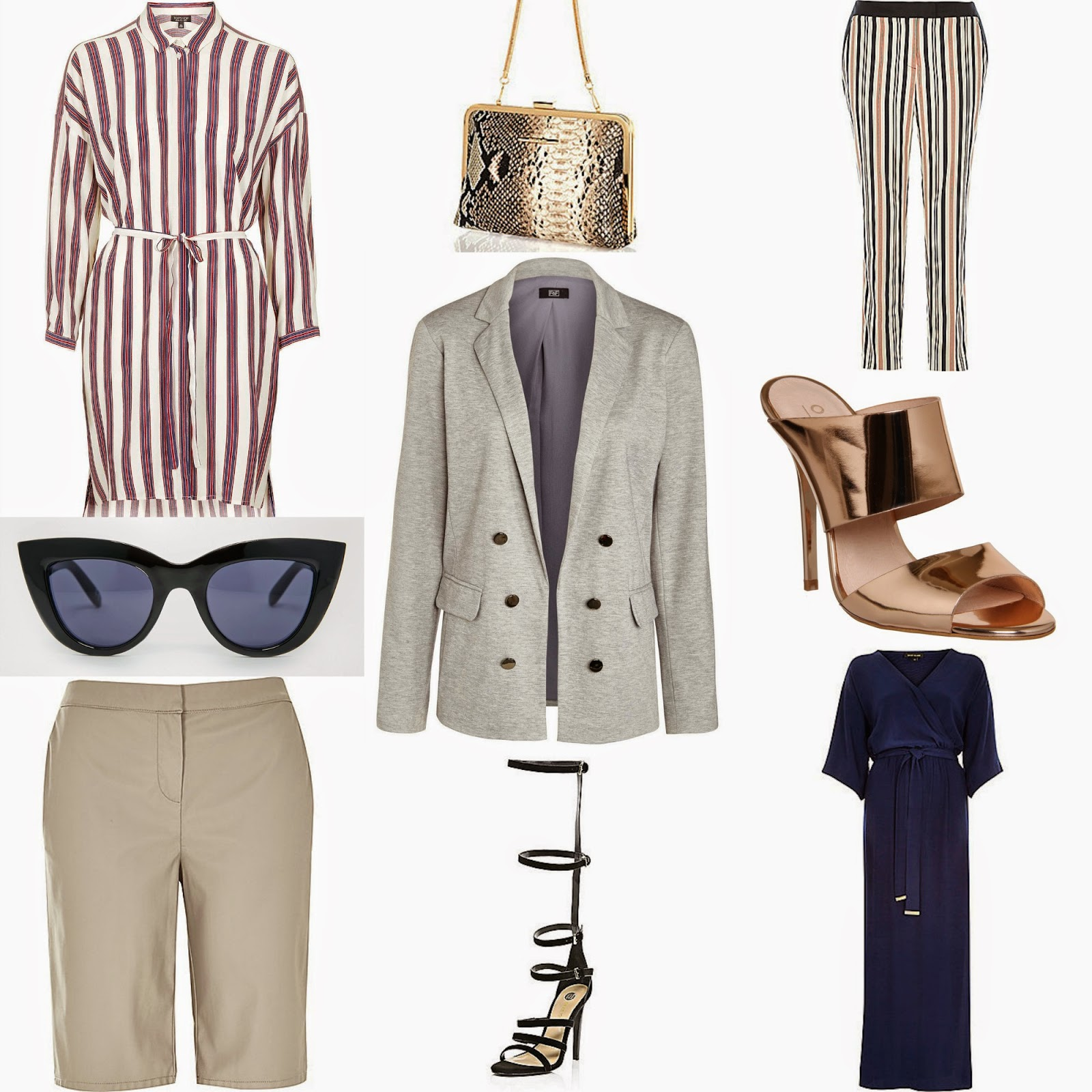 Friday wishlist, new in, ss15, topshop striped shirt dress, grey blazer, f&f, aw16, leather look city shorts, river island, gladiator sandals, navy, utility, rose gold mules from office, kimono maxi dress from river island
