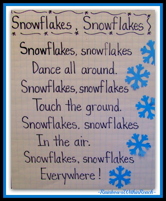 photo of: Anchor Chart for Snowflake Song in Shared Reading via RainbowsWithinReach Winter RoundUP