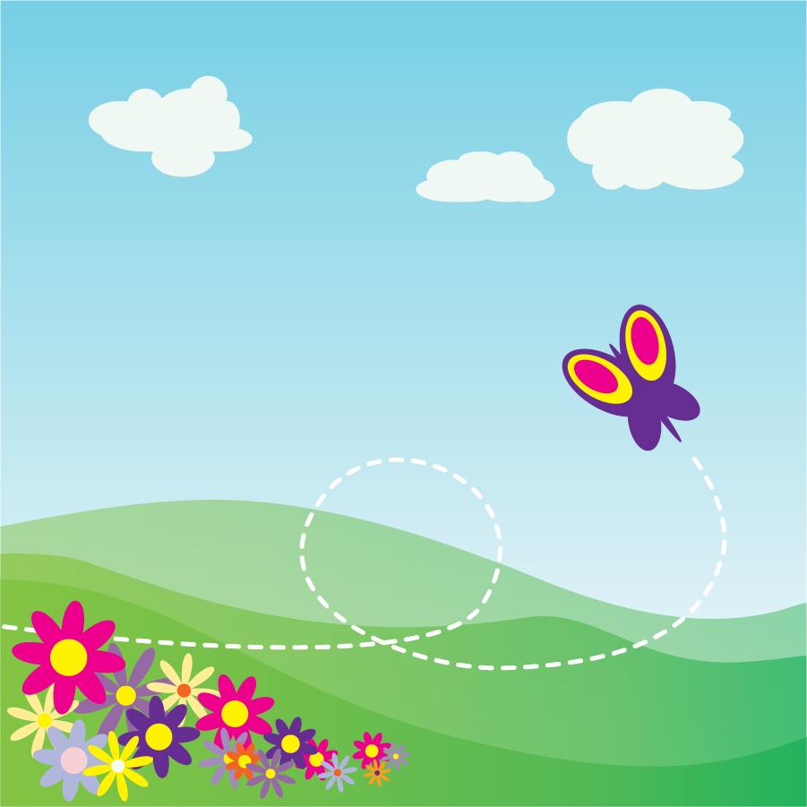 蝶が舞う草原の背景 Cartoon Hillside With Butterfly And Flowers イラスト素材