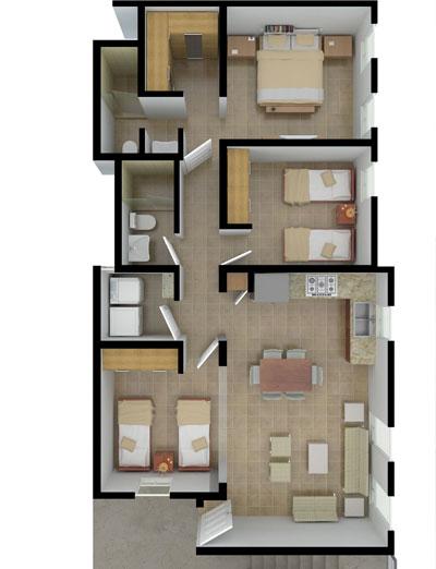 Planos de casas y plantas arquitect nicas de casas y for Casas modernas 3 recamaras