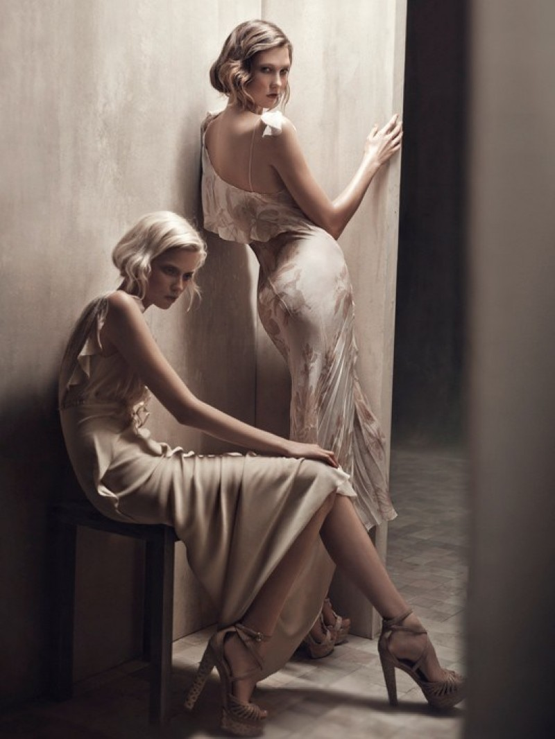 via fashioned by love | Abbey Lee Kershaw & Karlie Kloss in Donna Karan Spring/Summer 2011 campaign (photography: Patrick Demarchelier)