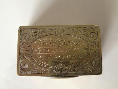 "Silver Snuff Box engraved ""John Blane, 78 Queen Street, Glasgow"""