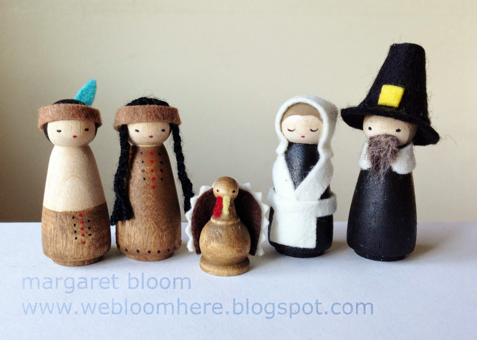 We bloom here peg doll pilgrims native americans for Native american thanksgiving crafts