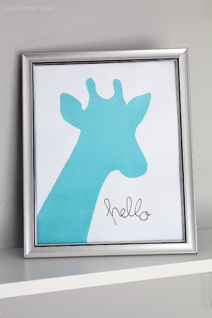 Inexpensive Framed Giraffe Kids Art by Love Grows Wild
