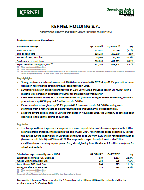 Kernel, operating report, Q4, 2014, front page