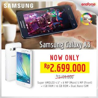 Harga Spesial Samsung Galaxy A3 Rp 2.699.000 di Erafone