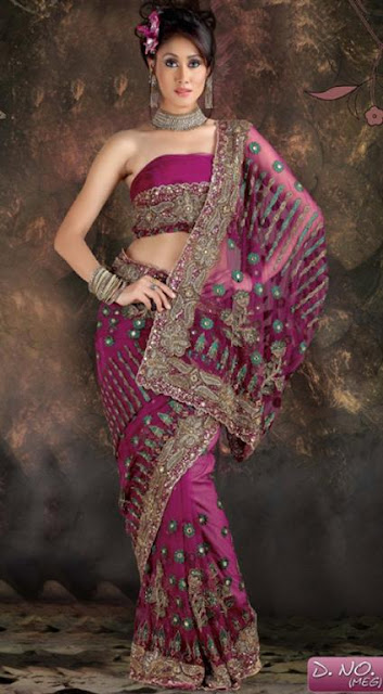 Indian Embroidered Party Wear Saree