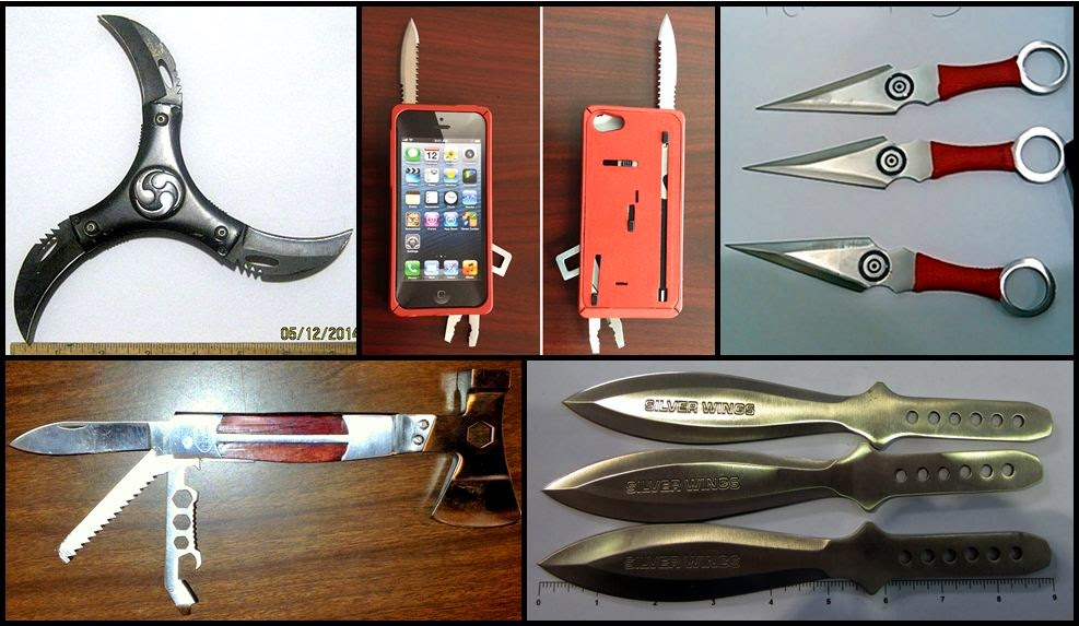 (Clockwise) Knives discovered at DAL, BOS, LAX, BTV, DTW