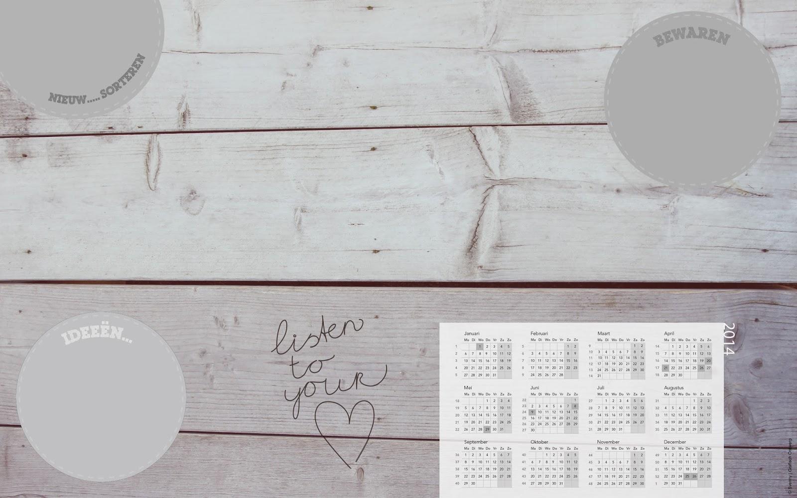 Bureaublad met kalender 2014