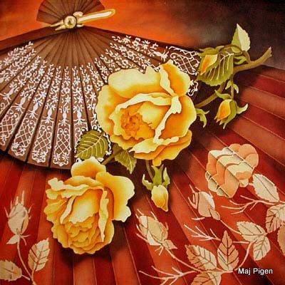 """Схема вышивки  """"Подушка Розы и веер """" ."""