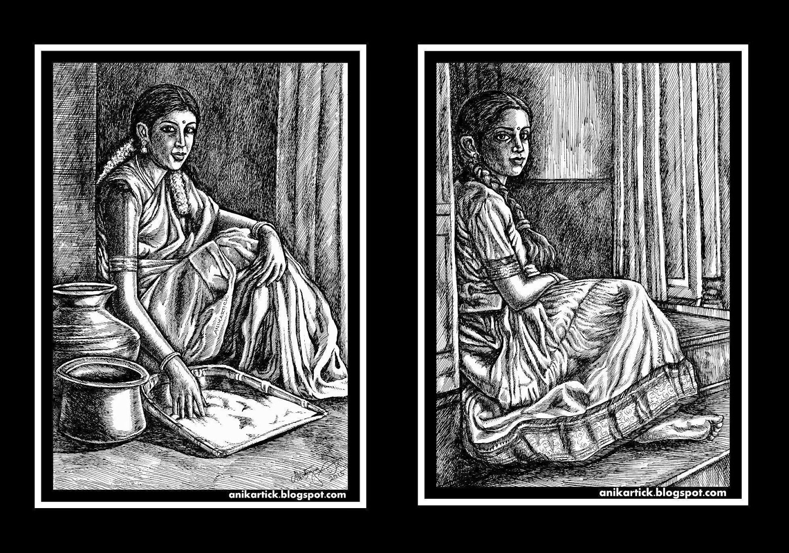 ... PENGAL OVIYAM / - Pen drawings done by Artist Anikartick,Chennai,Tamil