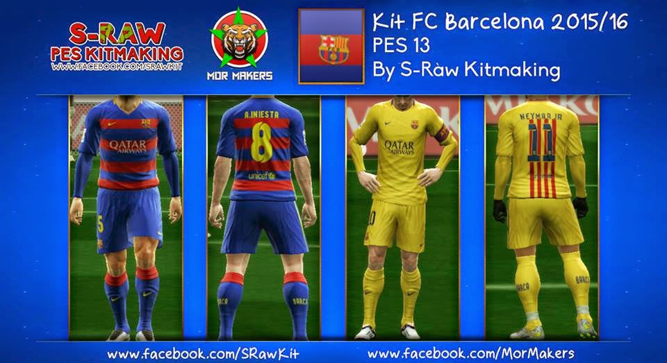 PES 2013 FC Barcelona 2015/16 Kits by S-Raw